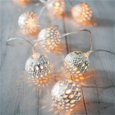 2M 20 Led Metal Moroccan Ball String Lights Led Fairy Lights Christmas Halloween Warm White Intl Price