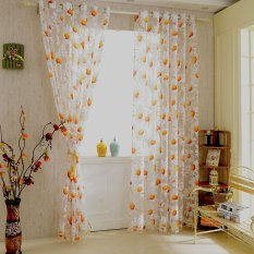Discount 2Pcs 100 250Cm Elegant High Quality Sunflower Design Half Shading Window Curtain Divider With Beads Door Voile Curtains Wall Decoration Intl