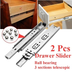 2Pcs 8 Long 3 Sections Ball Bearing Slide Rail Cabinet Drawer Runners Slider - intl