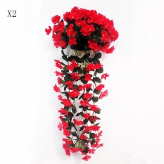 2Pcs Artificial Silk Violet Ivy Hang Flower Vine Rattan Wall Hanging Artificial Plant Wedding Party Home Garden Balcony Decoration Intl Price