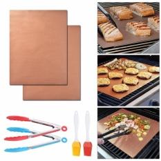 Sale 2Pcs Bbq Grill Mats Reusable Non Stick Barbecue Baking Sheet Clamp Brush Hs959 Intl Xcsource Online