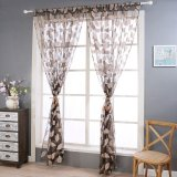 Purchase 2Pcs Leaf Tulle Door Window Curtain Drape Panel Sheer Scarf Valances Coffee Intl Online