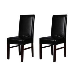 2pcs One-piece PU Leather Stretchable Dining Chair Back Seat Covers Waterproof Oilproof Dustproof Ceremony Chair Slipcovers Protectors--Black - intl