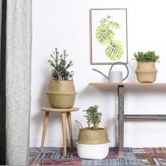 2PCS Seagrass Belly Basket Storage Plant Pot Foldable Nursery Laundry Bag Room Decor - intl