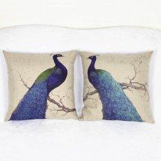 Sale 2Pcs Set 45X45Cm Retro Pillow Case Seat Pillowslip Creative Blue Peacock Birds Printed Pillowcase Not Specified Original