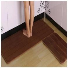 2pcs set Anti-Slip Kitchen Rugs Carpet Floor mat (BROWN) - intl