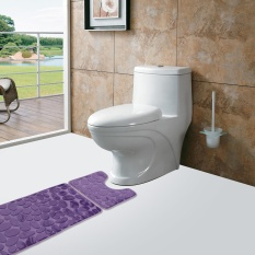 Compare Price 2Pcs Set Bath Non Slip Mat Toilet Contour Cover Rug Bathroom Floor Stone Pattern Intl Not Specified On China