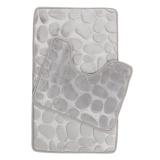Retail 2Pcs Set Bath Non Slip Mat Toilet Contour Cover Rug Bathroom Floor Stone Pattern Intl