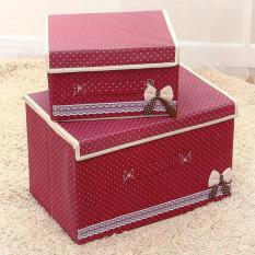 2pcs/set Foldable Wardrobes Non-woven Clothing Organizer Storage Bins Storage Box with Cap 2 Size Clothes /Socks /Toys /Snacks Sundries Oraganier ( Wine Red ) - intl
