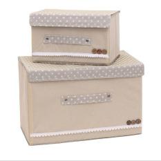 2pcs/set Foldable Wardrobes Storage Box with Cap 2 Size Clothes /Socks /Toys /Snacks Sundries Oraganier Set Non-woven Fabric Clothing Organizer Storage Bins ( Beige ) - intl
