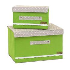 2pcs/set Foldable Wardrobes Storage Box with Cap 2 Size Clothes /Socks /Toys /Snacks Sundries Oraganier Set Non-woven Fabric Clothing Organizer Storage Bins ( Green ) - intl