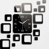 Price Comparisons Of 2Pcs Square Clock Mirror Effect Wall Sticker Mural Decal Home Decor Black Intl