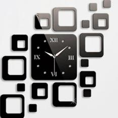 Review 2Pcs Square Clock Mirror Effect Wall Sticker Mural Decal Home Decor Black Intl On China