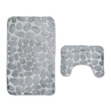 Purchase 2Pcs Set Rug Set Floor Bathroom Stone Mat Blended Polyester Fiber Non Slip Toliet Bath Mat Carpet Intl