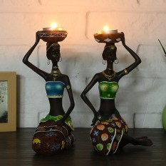 2X African Women Beauty Lady Decorative Statue Resin Figurine Craft Candlestick - intl
