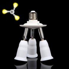 3 in 1 White Adjustable E27 Base Light Lamp Bulb Adapter Holder Socket Splitter