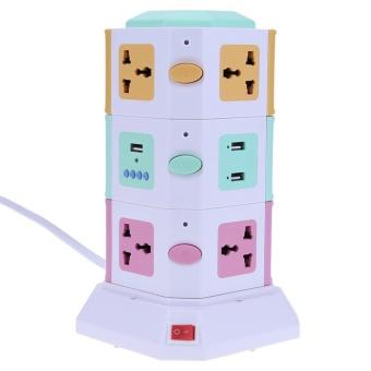 3 Layer Smart Electrical Plug Vertical Power Socket Outlet+2 USB Ports(Multicolor)-EU plug
