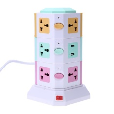 3 Layer Smart Electrical Plugs Vertical Power Socket Outlet+2 Usb Ports(multicolor)-Us Plug - Intl By Easygoingbuy.