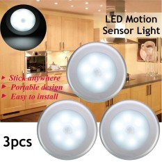 3 pcs Wireless Night Light PIR Motion Auto Sensor 6 LED Lamp Light Battery Operated (White) - intl