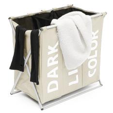 Review 3 Section Folding Laundry Sorter Hamper Organizer Washing Clothes Basket Storage Beige Intl Oem On China