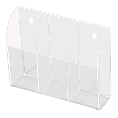 3-Slot Clear Acrylic Home Wall Mounted Desk TV Air-conditioner Remote Control Storage Holder Organizer Stand