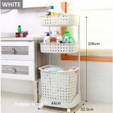 Compare Price 3 Tier Movable Laundry Basket With Wheels Shelf Shelves Rack Storage On Singapore