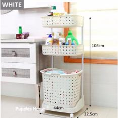3 Tier Movable Laundry Basket With Wheels Shelf Shelves Rack Storage On Line
