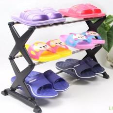 Sale 3 Tiers Metal Shoe Rack Storage Organizer Stand Fabric Shelf Holder Stackable Intl Oem Online