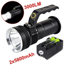 3000LM Handheld CREE T6 LED Flashlight Searchlight Lamp Torch 18650&Charger - intl