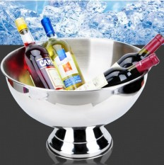 New 304 Stainless Steel Salad Bowl Ice Bucket Champagne Bucket Food Basin Champagne Basin Fruit Bowl Ice Bowl 40 Cm