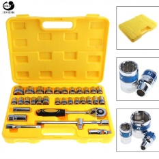 Retail 32Pcs Set 1 2Inch Motorcycle Car Repair Tool Box Precision Socket Wrench Set Ratchet Torque Wrench Combo Kits For Auto Repairing Intl