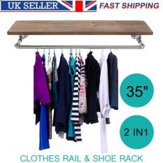 35 Industrial Retro Silver Iron Pipe Clothes Rail Shoes Wooden Rack Wardrobe - intl
