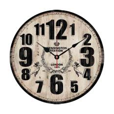360DSC 12 Inch Vintage Rustic Country Tuscan Style Silent Wooden Wall Clock Home Decor - Type E
