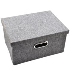 Who Sells 360Dsc Simple Design Storage Box Foldable Thicken Home Sundries Organizer With Lid 33 23 5 18Cm Grey Intl