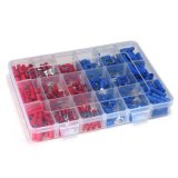 360Pcs Red And Blue Insulated Terminals Crimp Connector B*tt Spade Ring Fork Set Shop