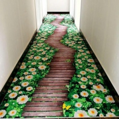 3D Floral Print Floor Mat Carpet Anti-slip Absorbent Bathroom Mats Entrance Doormat Soft Footcloth Kitchen Rug Balcony Mats Pads 40x60CM - intl