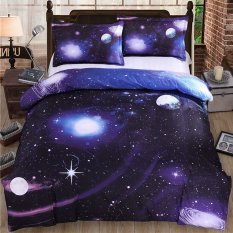 Best Offer 3D Galaxy Bedding Sets Queen Size Universe Outer Space Themed Bedspread 4Pcs Bed Linen Bed Sheets Duvet Cover Set Intl