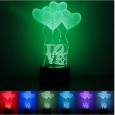 How To Get 3D Love Heart Balloons 7 Color Change Night Led Table Light Lamp