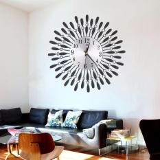 3D Metal Wall Clock Diamonds Flower Non-Ticking Silent Dazzling Clock For Home Kitchen Office Diameter 37.5 - intl