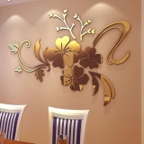 Lowest Price 3D Mirror Floral Art Removable Wall Sticker Acrylic Mural Decal Home Room Decor Intl