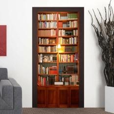 3D Sticker Door Wall Fridge Sticker Wrap Mural Scene Retro Bookcase Adhesive - intl