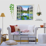 Store Mimosifolia 3D Window Greenery Wall Sticker Decal Wallpaper Pvc Mural Art House Decoration Home Picture Wall Paper For *d*lt Kids Mimosifolia On Hong Kong Sar China