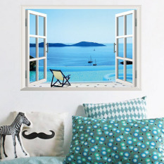 Top 10 Mimosifolia 3D Window Seaside Shutters Wall Sticker Decal Wallpaper Pvc Mural Art House Decoration Home Picture Wall Paper For *D*Lt Kids