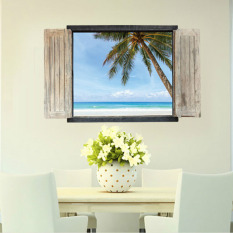 Price Comparisons For Mimosifolia 3D Windows Seaside Beach Sticker Decal Wallpaper Pvc Mural Art House Decoration Home Picture Wall Paper For *d*lt Kids