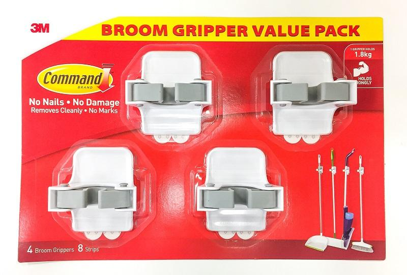 3M Command Mop and Broom Gripper 4pcs Value Pack - Hold 1.8kg [17007BGVP] No Screw, No Tool Needed