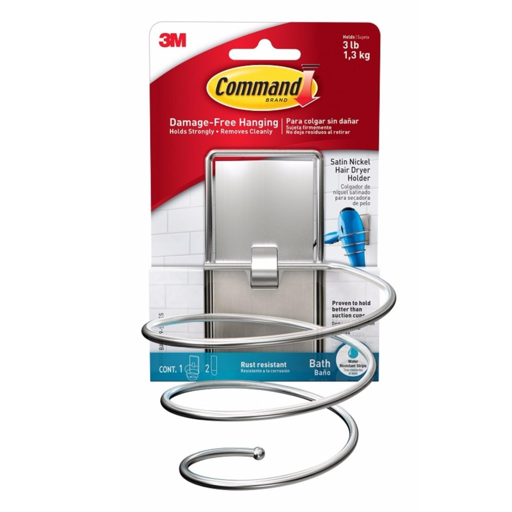 Price 3M™ Command™ Satin Nickel Hair Dryer Holder 3M Command