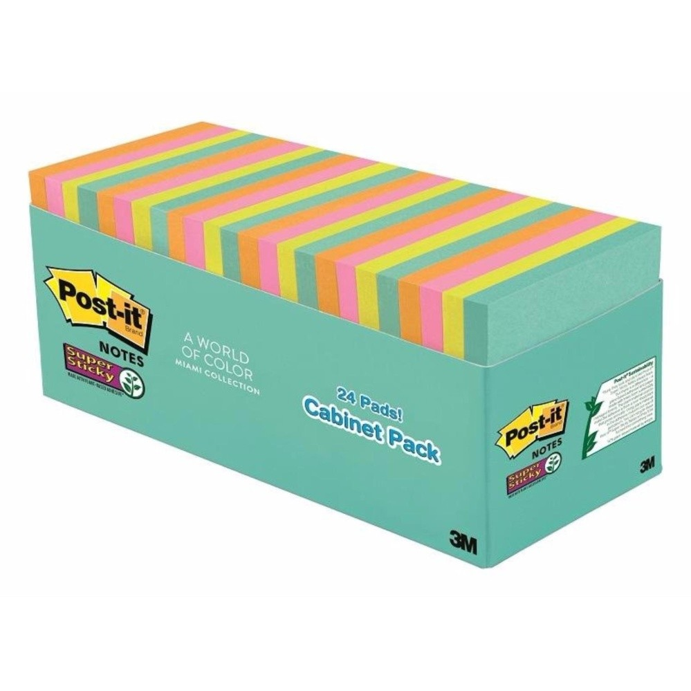 3m Post-It® Super Sticky Notes Cabinet Pack - Miami Collection [654-24ssmia-Cp] By 3m Official Store.