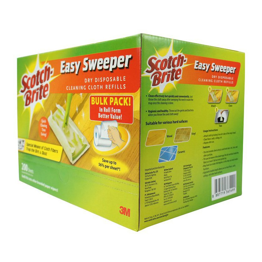 3m Scotch-Brite Easy Sweeper Dry Wiper Bulk Pack (200 Sheets) By 3m Official Store.