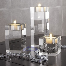 3pcs Different sizes Crystal glass Candle Holders Square solid proposal Wedding Candlestick Decoration - intl