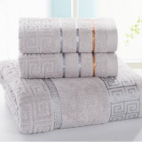 Discount 3Pcs Set Luxurious Cotton Bath Towel Sets For Adults Kidssolid Beach Towel Thickening *d*lt Bath Towels Bathrobe Grey 34X70Cm And 70X140Cm Oem